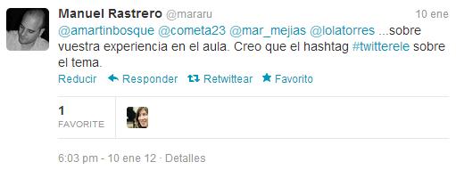 Manuel Rastrero (mararu) en primer tuit_Twitter